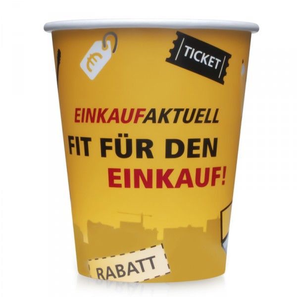 Hot Cup einwandig, große Auflage (ab 10.000 Stück), Offset-Druck